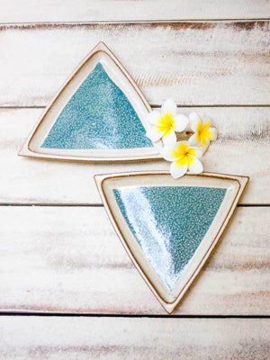 Sea Green Star Tapas Triangle Platter - Set of 2 Ceramics
