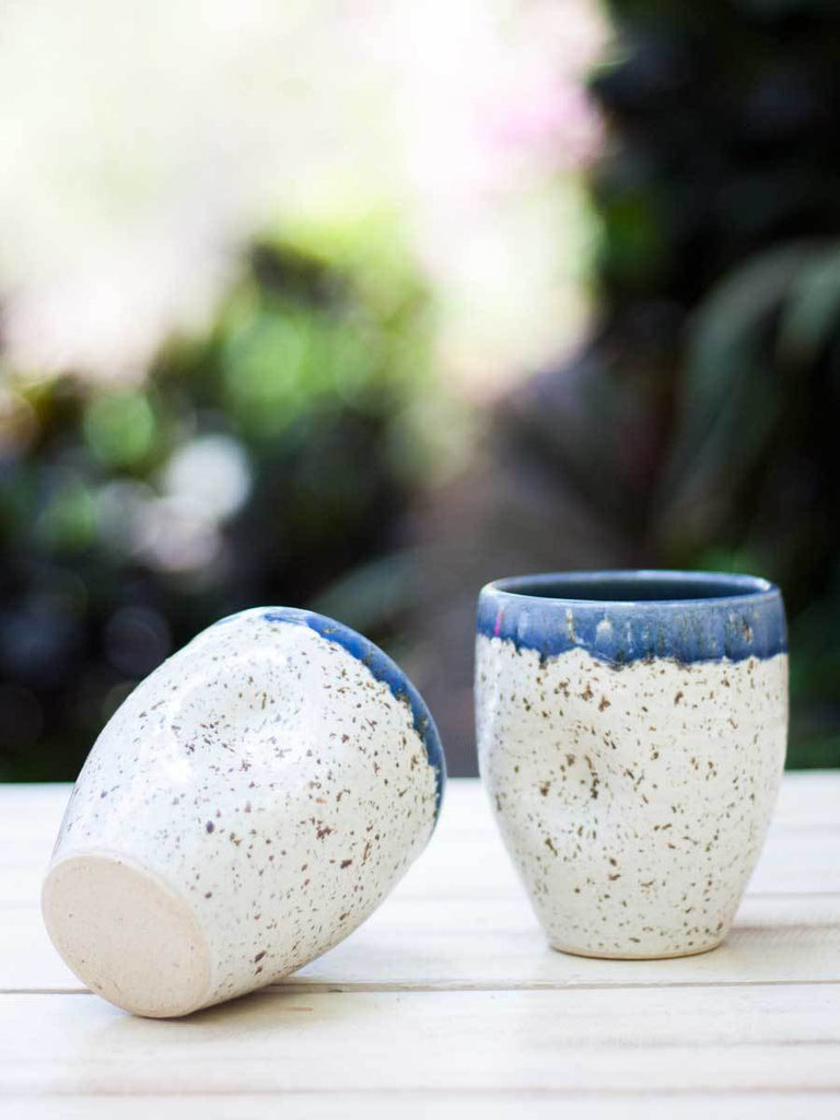 Dreamy White Dimpled Hand-Thrown Ceramic Tumbler - Set of 2 - Pinklay