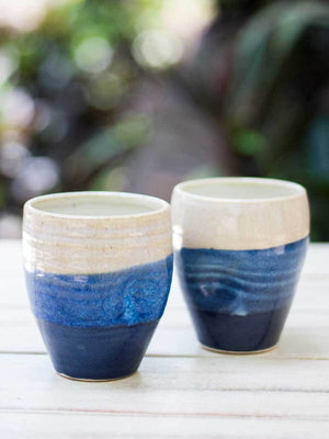 Indigo Trifecta Dimpled Hand-Thrown Ceramic Tumbler - Set of 2 - Pinklay