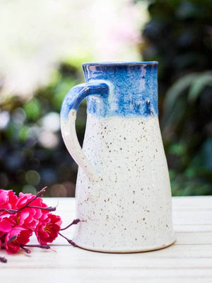 Dreamy White Hand-Thrown Ceramic Jug - Large - Pinklay