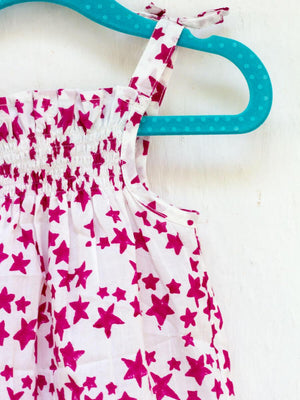 Deep Pink Star Organic Cotton Top - Pinklay