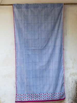 Indigo Stripes Hand Block Print Cotton Curtain With PomPoms & Concealed Loops - Pinklay