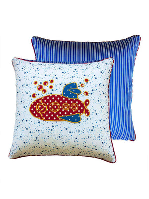 Submarine Applique Cotton Cushion Cover - 16 Inch - Pinklay