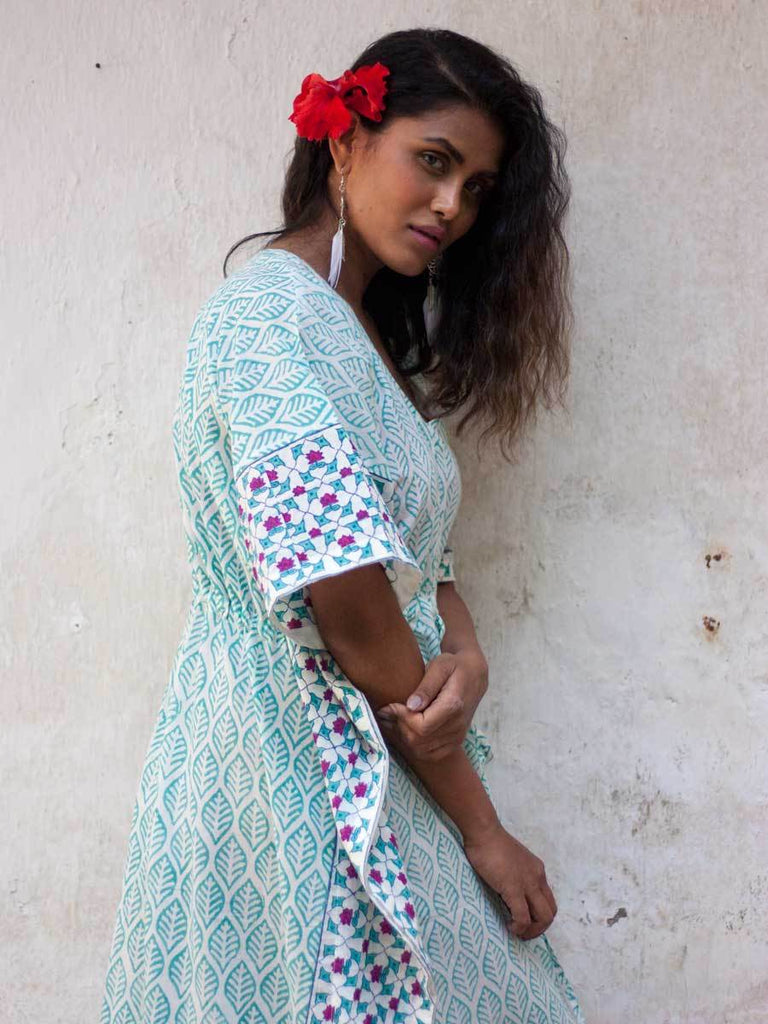 Floral Melody Hand Block Printed Cotton Kaftan - Pinklay