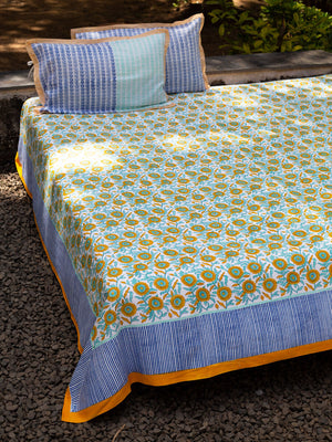Sunflower Fields Hand Block Print Cotton Bed Sheet Set With Complementing Pillow Covers - Pinklay