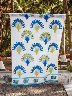 Travellers Palm Hand Block Print Cotton Curtain with Border & Concealed Loops Curtains