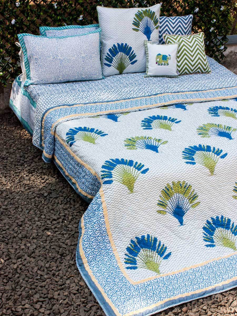 Travelers Palm Hand Block Print Jaipuri Razai, Cotton Quilt - Pinklay