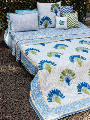 Travelers Palm Hand Block Print Jaipuri Razai, Cotton Quilt Quilts