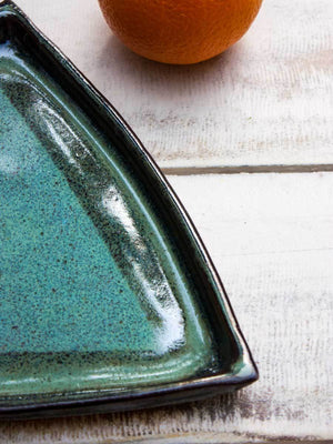 Aqua Green Triangle Platter - Pinklay