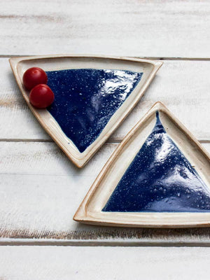 Midnight Star Tapas Triangle Platter - Set of 2 Ceramics