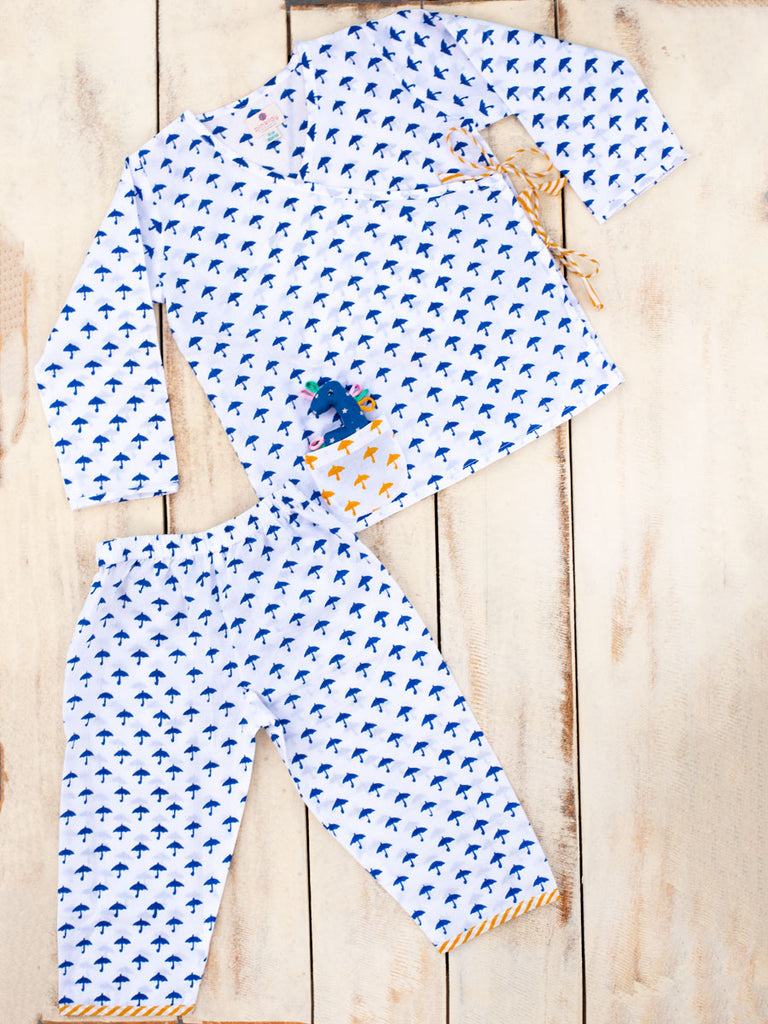 Blue Umbrella Organic Cotton Angrakha Set - Pinklay