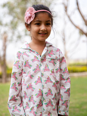 Unicorn Organic Cotton Top & Pyjama Set - Pinklay