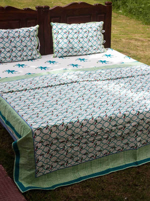 Van Kantha Cotton Gudri; Double Layered Bed Cover - Pinklay