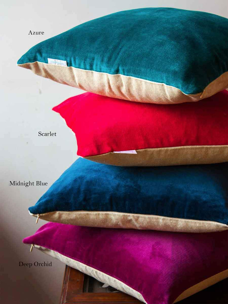 Scarlet Cotton Velvet Cushion Cover - Pinklay