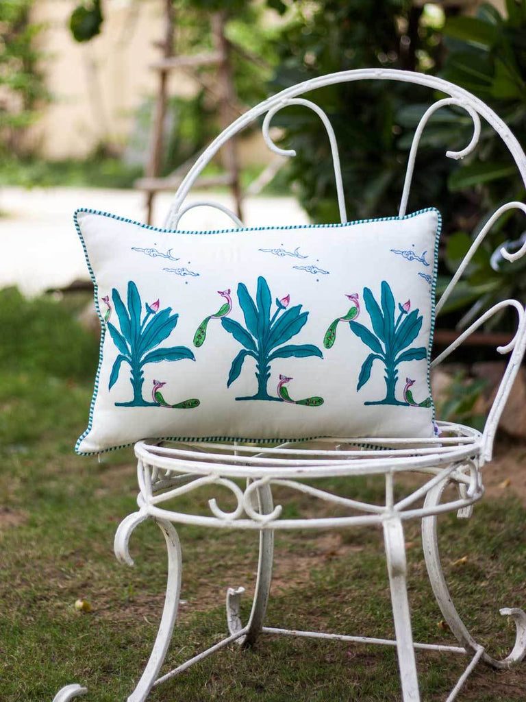 Vraksh Hand Block Print Cotton Cushion Cover - 14 X 20 Inch - Pinklay