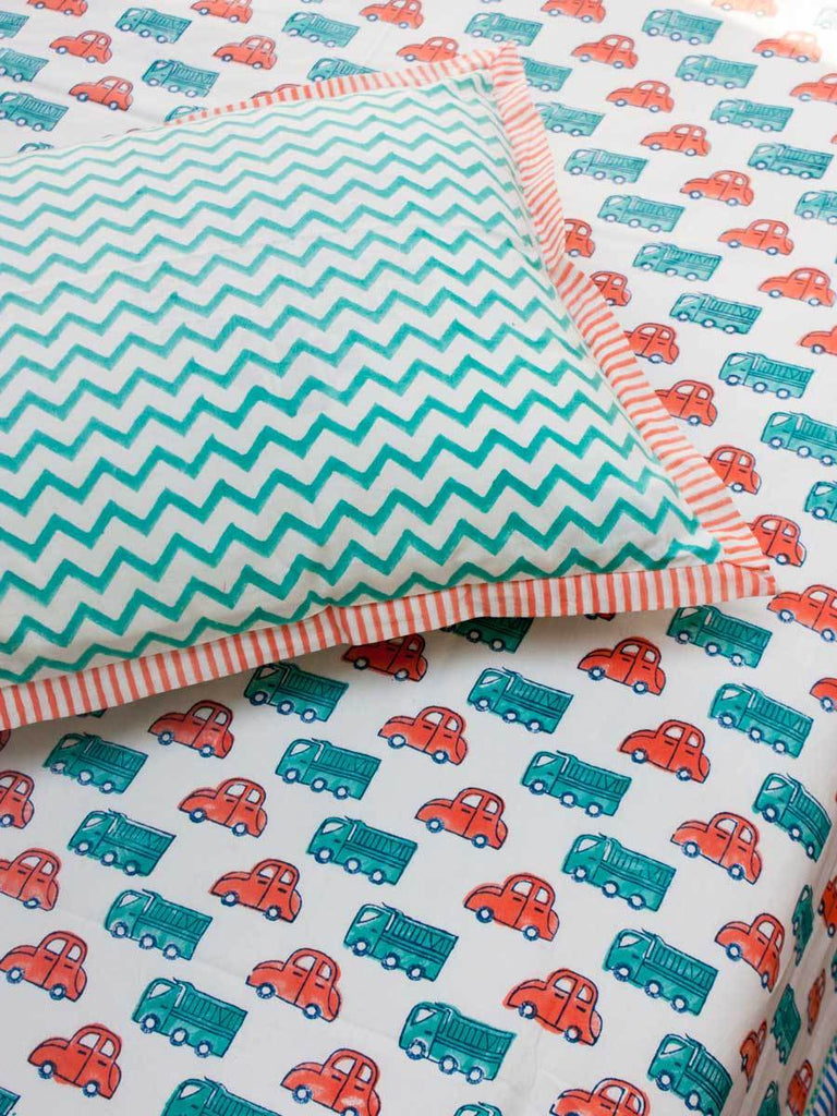 Vroom Vroom Cotton Single Bedsheet Set - Pinklay