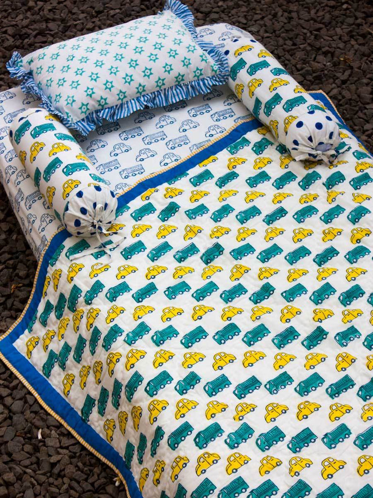Vroom Vroom GOTS Certified Organic Cotton Reversible Quilt for Infants New Kids Collection