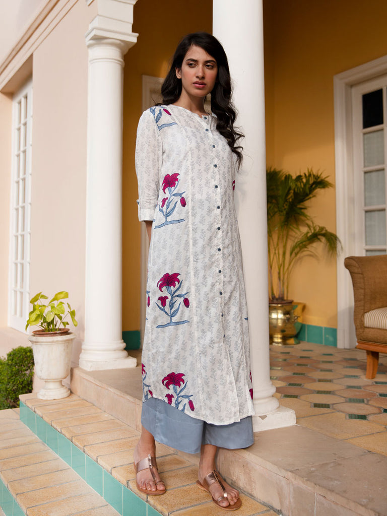Water Lily Modal Silk Three Paneled Shirt Dress