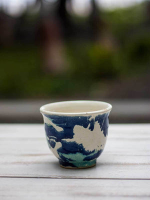 Watercolor Splash Hand-Thrown Ceramic Tea / Soup Bowl - Pinklay