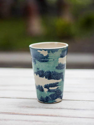 Watercolor Splash Hand-Thrown Ceramic Tumbler - Pinklay
