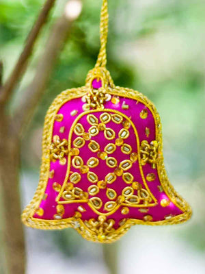 Pink Bell Handmade Zardosi Festive Charm / Ornament - Set of 2 (Small) - Pinklay