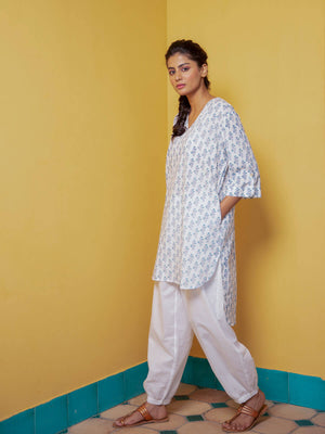 Wild Lily Cotton Kurta & Lantern Pants Set - Pinklay
