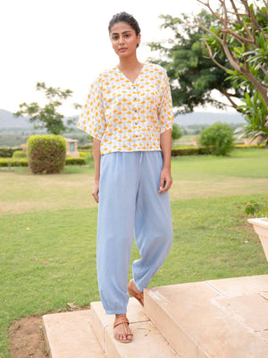 Wildflowers Cotton Short Top & Lantern Pants Set - Pinklay