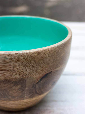 Teal Wooden Deep Snack and Fruit Bowl Wooden Tableware