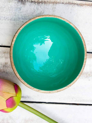 Teal Wooden Deep Snack and Fruit Bowl - Pinklay