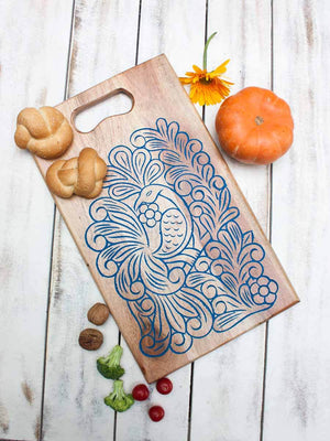 Peacock Handcarved Wooden Platter / Chopping Board - Pinklay