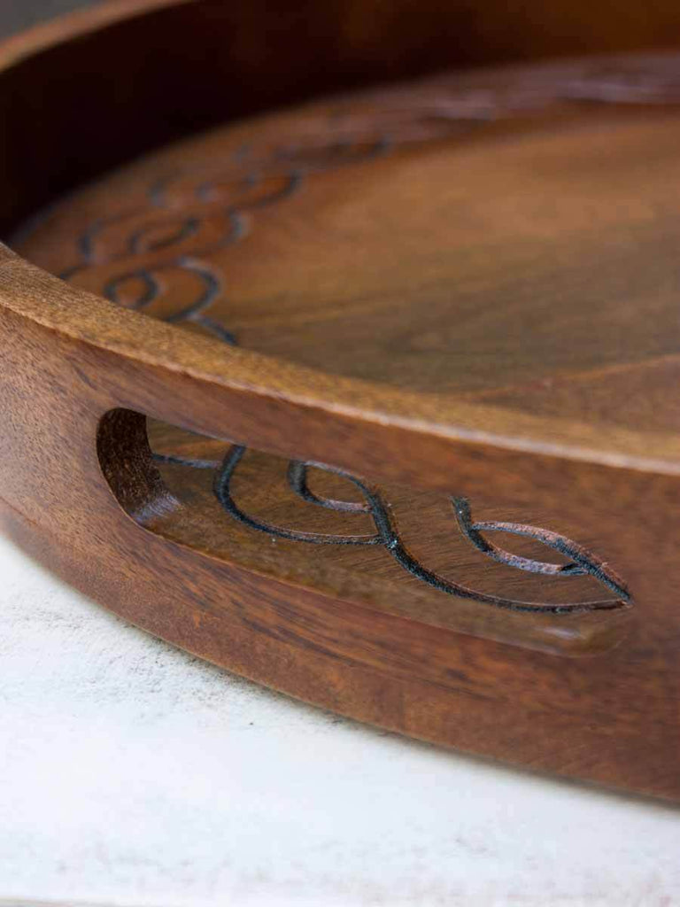 Handcarved Large Wooden Round Serving Tray Wooden Tableware