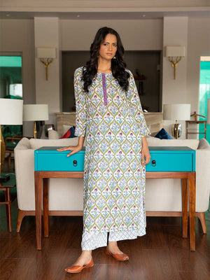 Aabshaar Modal Silk Hand Block Printed Long Kurta - Pinklay