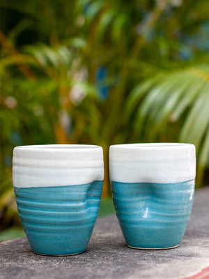Aqua Dance Dimpled Hand-Thrown Ceramic Tumbler - Pinklay