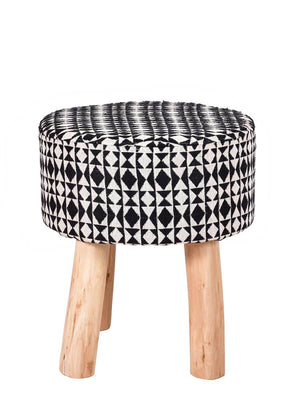 Black Cosmos Upholstered Wooden Stool - Pinklay