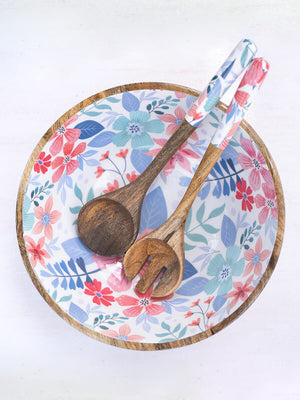 Blossom Delight Large Wooden Salad Bowl with Two Spoons - Pinklay