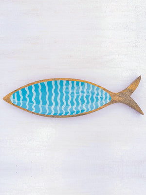 Blue Fin Handcarved Solid Wood Platter - Pinklay