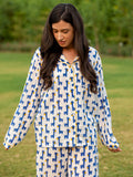 Blue Giraffe Soft Cotton Pajama Set - Pinklay