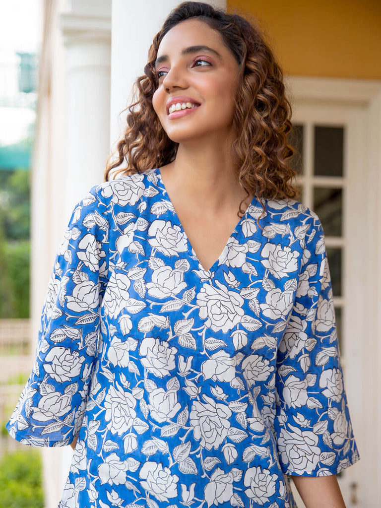 Blue Pea Cotton Lounge Set - Pinklay