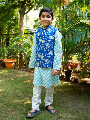 Blue Sky Long Kurta Jacket Set - Pinklay