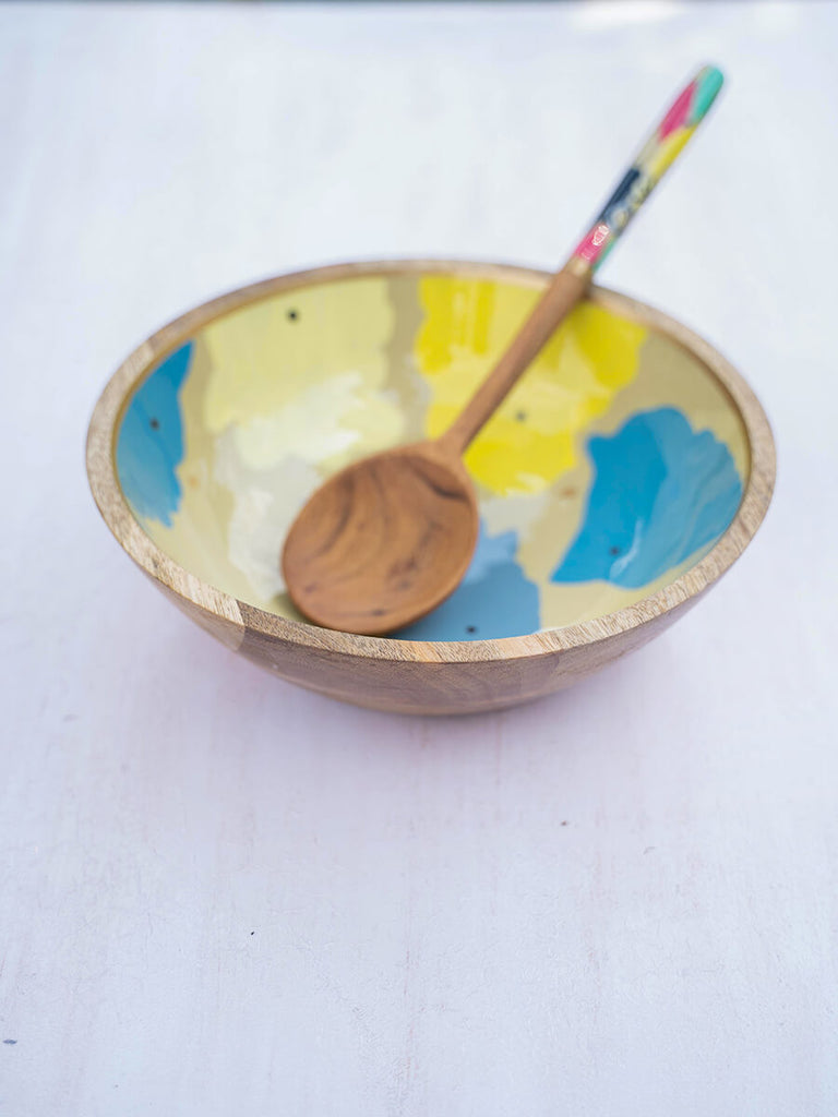 Color Riot Medium Wooden Salad Bowl With One Spoon - Pinklay