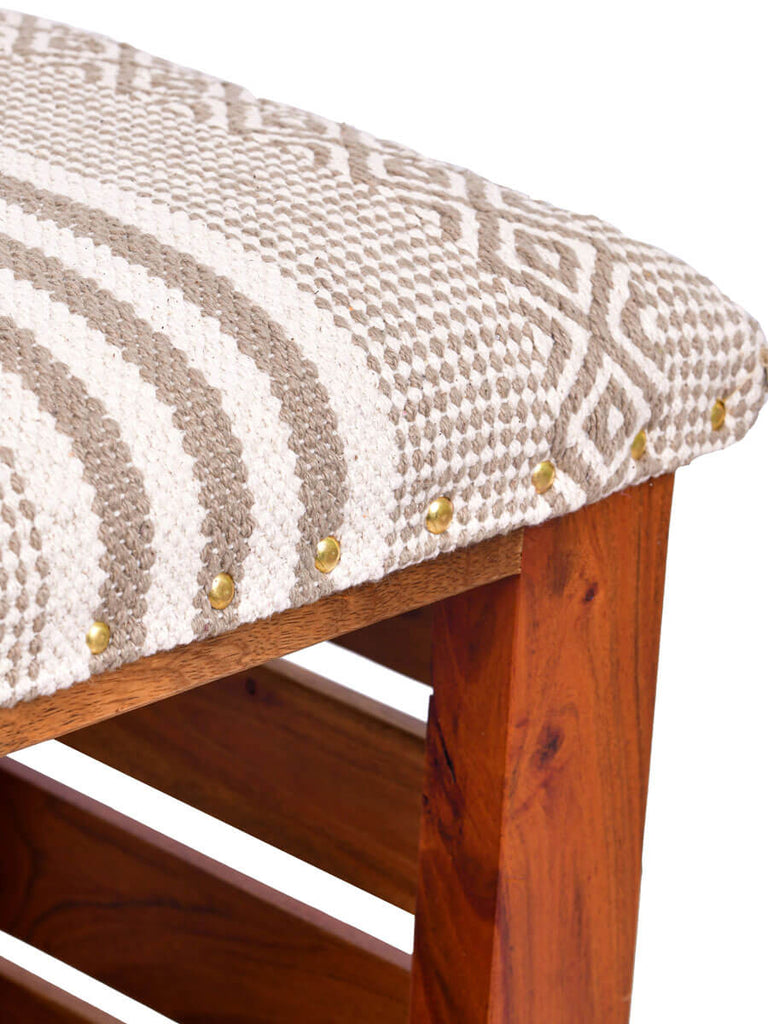 Dream Run Acacia Solid Wood Storage Bench With Upholstery - Pinklay