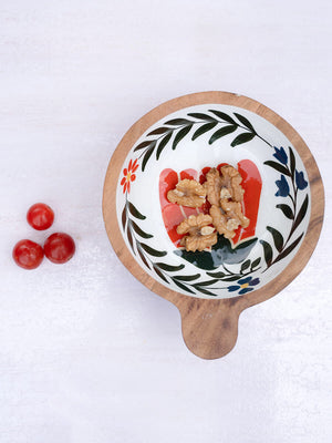 Dreamy Garden Handcarved Solid Wood Snack Bowl - Pinklay