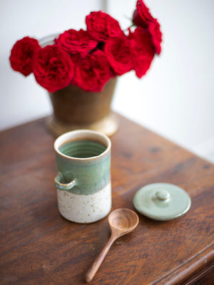 First Rain Hand-Thrown Ceramic Jar With Wooden Spoon