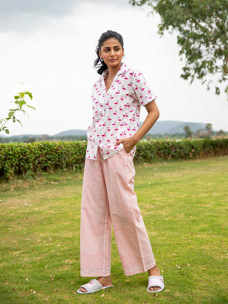 Flamingo Soft Cotton Pajama Set - Pinklay
