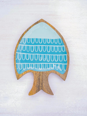 Flying Fish Handcarved Solid Wood Platter - Pinklay