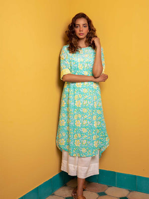 Garden of Love Pintuck Long Kurta - Pinklay