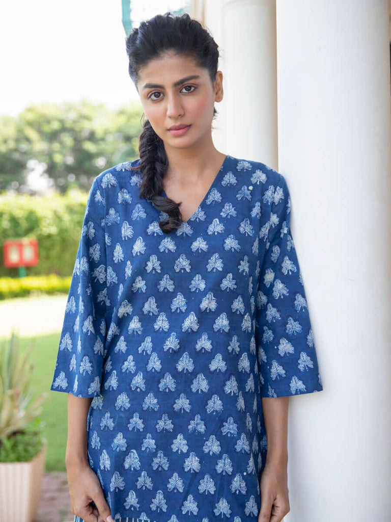 Indigo Song Cotton Lounge Set - Pinklay