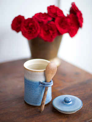 Midnight Indigo Hand-Thrown Ceramic Jar With Wooden Spoon - Pinklay