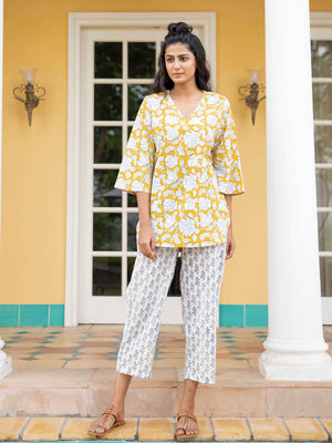Mustard Fields Cotton Lounge Set - Pinklay