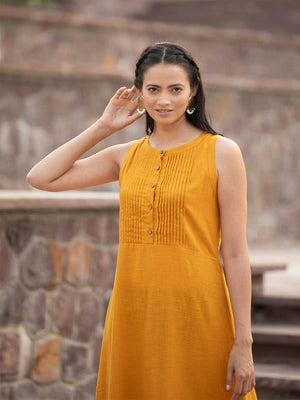 Mustard Yellow Sleeveless Cotton Pintuck Dress - Pinklay
